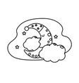 line cute moon with sleep hat design and clouds vector image vector image