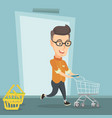 male customer running into the shop with trolley vector image vector image