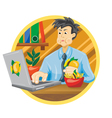 Man is having lunch vector image