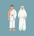 moslem couple wear hajj cloth vector image vector image