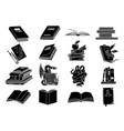 open books black silhouettes book reading icons vector image vector image