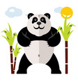 panda and bamboo flat style colorful vector image vector image