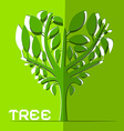 Paper Cut Tree on Green Background vector image vector image