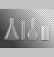 realistic detailed 3d empty chemical glass flasks vector image