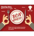 Restaurant Promotion concept Symbol Hands Cutlery vector image vector image