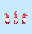 set cute christmas gnomes in funny hats with vector image