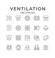 set line icons ventilation