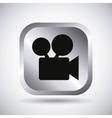 Silver camera button design vector image