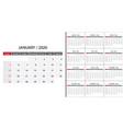 simple calendar 2020 vector image