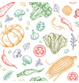sketch vegetables seamless pattern vegetable soup vector image vector image