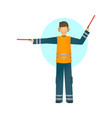 special worker in reflective clothing showing vector image vector image