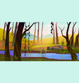 spring forest with river and mountains at sunset vector image