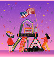 students with books and american flag learning vector image vector image