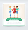 three happy female friends talking best friends vector image vector image