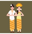 two girls represent Indonesia ethnic group wearing vector image vector image