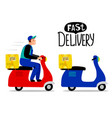 two retro delivery scooters vector image vector image
