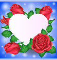 valentines day congratulations heart and flowers vector image