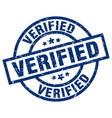 verified blue round grunge stamp vector image vector image