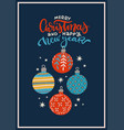 vintage christmas greeting card with baubles vector image vector image
