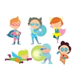 Superhero kids boys and girls cartoon vector image