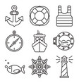 nautical or sea trip black outline icons isolated vector image