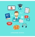 Foreign language courses and schools concept Flat vector image