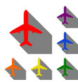 airplane sign set of red orange vector image