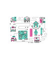 home interior line icons vector image