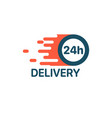 24 hour fast delivery service motion logo stock vector image vector image