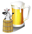 A zebra inside a wooden container with a glass of vector image vector image