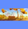 autumn park with orange trees wooden bench