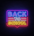 back to school greeting card design template neon vector image vector image