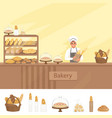 bakery shop with baker character next vector image