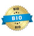 bio 3d gold badge with blue ribbon vector image vector image