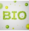 Bio word consisting of colored 3d particles vector image