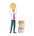 businessman with coin in hands vector image vector image