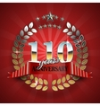 Celebrative Golden Badge for 110th Anniversary vector image vector image