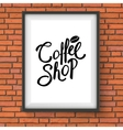 Coffee Shop Sign Hanging on Red Brick Wall vector image vector image