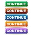 colorful buttons with word continue vector image vector image
