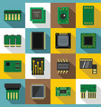 computer chips icons set flat style vector image vector image