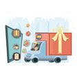 courier delivery service in truck icon vector image vector image