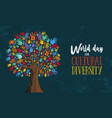 cultural diversity day tree hand concept vector image