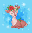 cute christmas card with cartoon deer vector image vector image
