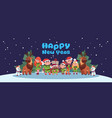 cute elfs and santa deer on happy new year vector image vector image