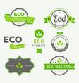 eco icons labels set organic tags natural vector image vector image