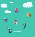 education is freedom flat isometric low poly vector image vector image