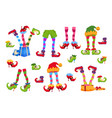elf feet elves foot in shoes and hat christmas vector image vector image
