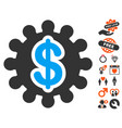 financial options gear icon with valentine bonus vector image vector image