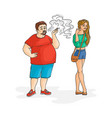 flat fat man smoking woman irritated vector image vector image