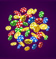 flying chips on the purple background vector image vector image